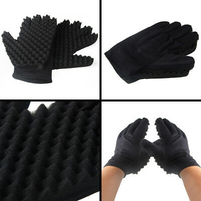 Unisex Double Sided Hair Sponge Hloves Twist Curl Coil Magic Tools Black