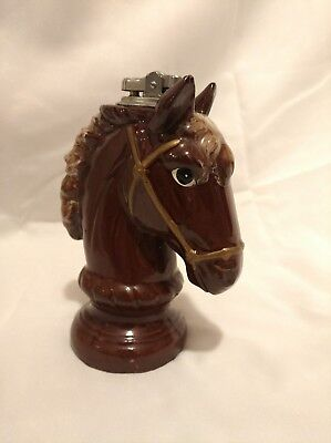 Vintage Nanco Ceramic Horse Head brown Tabletop Lighter  Japan