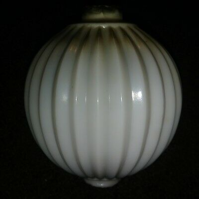 CIRCA 1880-1920`s White Sharp PLeat Opalescent Milk Glass Lightning Rod Ball