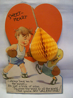 Vintage Valentine card honeycomb punching bag boy duck boxers