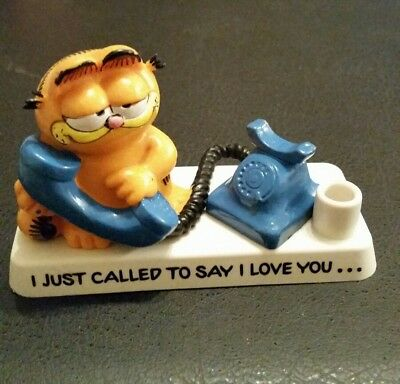 "Vintage Bully Garfield Figure / pen holder ""I just called to say I love you """