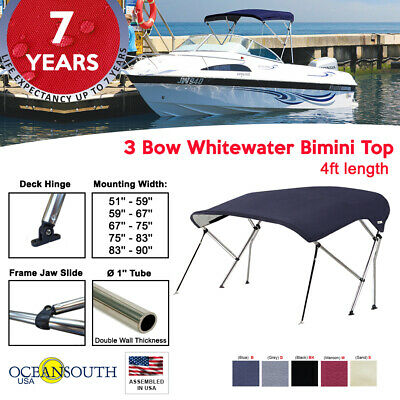 BIMINI TOP 3 Bow Boat Cover Gray With Rear Poles & Integrated Cover