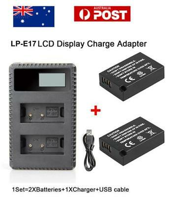 Dual LP-E17 1040mAh Battery + Charger For Canon Cameras EOS 750D 760D T6i T6s M3