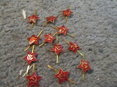 12 unissued russian soviet military army red uniform hat cap star badges pins