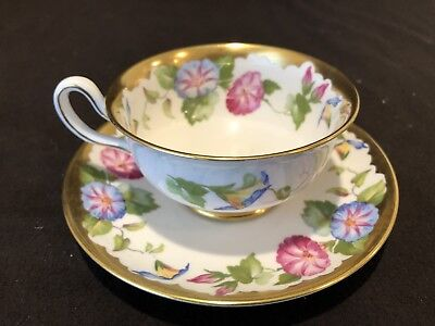 Royal Chelsea 388A Morning Glory Flower Tea Cup and Saucer Set Gold Bone China