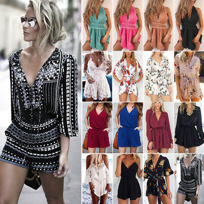 Women Holiday Clubwear Summer Short Jumpsuit Playsuit Romper Bodysuit Sundress