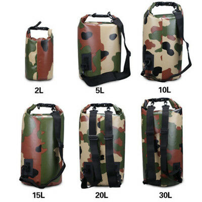 Camping Waterproof 2L-30L Dry Bag Sack for Floating Boating Kayaking Camouflage