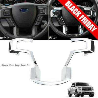 Chrome Steering Wheel Moulding Trims Cover for 2015 - 2017 Ford F150 Accessories