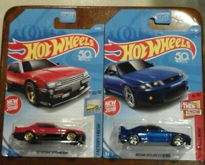 2018 Lot of 2 Hot Wheels Nissan 1982 '82 Skyline R30 in red & GT-R R33 in blue