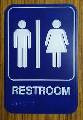Unisex Restroom Sign with Braille - Blue - 6X9