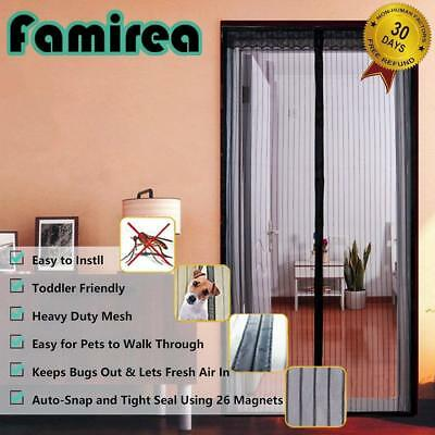 "Magnetic Screen Door Mesh Curtain and Full Frame Velcro Fits Doors up to 36""- 82"
