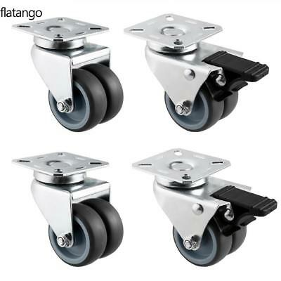 2 Inch Office Chair Twin Wheel Swivel Caster Top Plate with Swivel Lock DarkGray