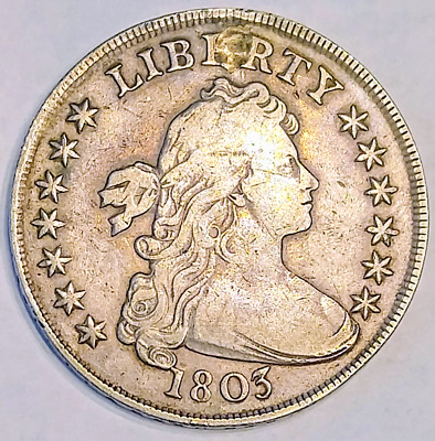 1803 Bust Dollar (Small 3) Plugged VF (Very Fine) Detail Raw Variety Early Coin