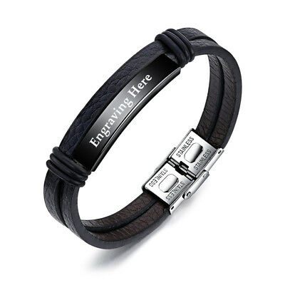 FATHERS DAY GIFT Personalised Engraved Bracelet PU Leather & Stainless Steel