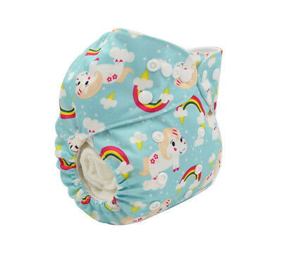 New Reusable Modern Cloth Nappy MCN + FREE insert – Blue Unicorns & Rainbows