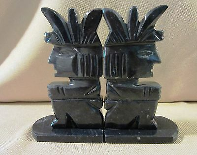 Vintage Pair of Carved Onyx Central American Bookends - Black/White Flecks