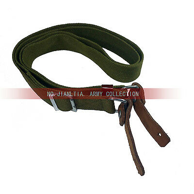 Original Item PLA Type 56 Web Sling Strap Green with Genuine Leather Ends