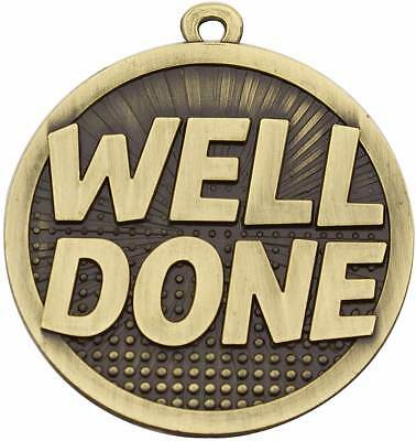 Well Done Medal 3D 50mm Antique Gold  Medal Engraved / Ribbon FREE
