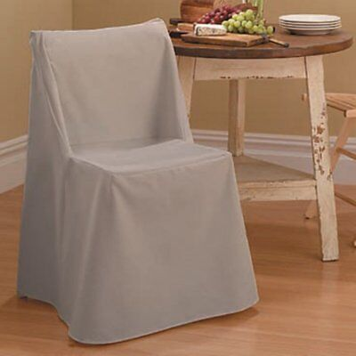 Excellent Sure Fit Cotton Duck Long Dining Room Chair Cover 15 74 Cjindustries Chair Design For Home Cjindustriesco