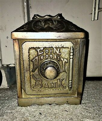 Antique Old Nickel Plated Cast Iron Combination Safe Bank