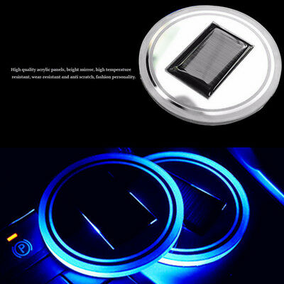1x Solar Cup Pad Car Accessories LED Light Cover Interior Decoration Lights BLUE