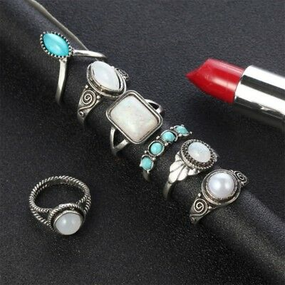 7Pcs Bohemian Silver Ethnic Knuckle Rings Fashion Finger Rings Set Women Jewelry