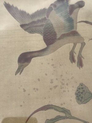 antique chinese silk fabric tapestry embroidery panel Ducks Near A Lake