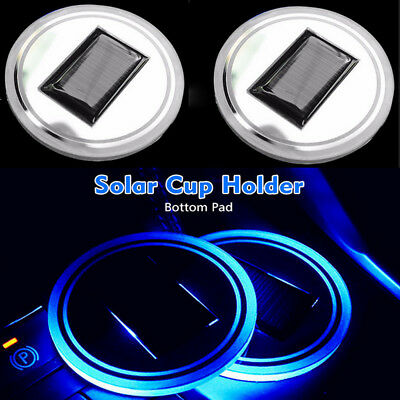 2pc Solar Cup Pad Car accessories LED Light Cover Interior Decoration Lights PO1