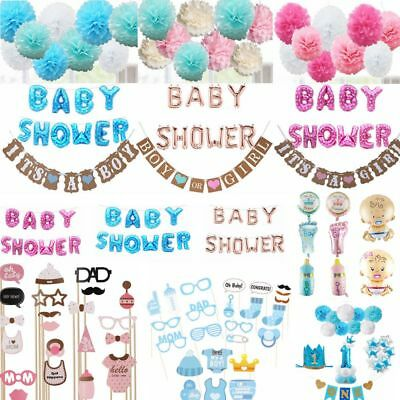 Baby Shower Photo Booth Props Boy Girl Party Decoration Banner Balloons Favours