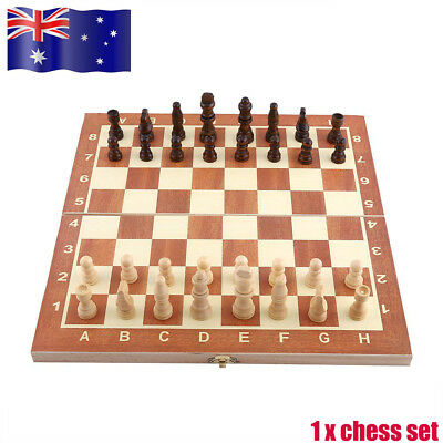 Quality 3 in 1 Wooden Board Backgammon Chess Game Set Draughts Checkers Games AU