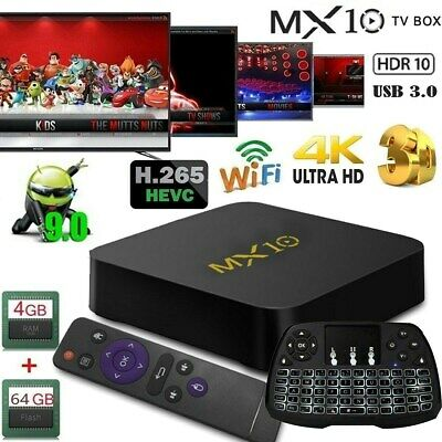 MX10 4K Smart TV BOX RK3328 Android 8.1 Quad Core 4GB 64GB USB3.0 HDR10 +Clavier