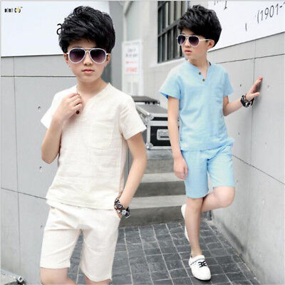 Linen Boys Clothes Sets Summer Short Sleeve Casual Children Sport Suits 2 Piece
