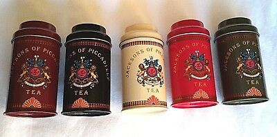 Vintage Jackson's of Piccadilly Small Tea Tins Canisters Set of 5