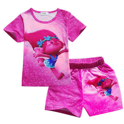 Purple Red Poppy Trolls Kids Girls Tutu Dress Short Sleeve T-shirt+Skirt Outfits
