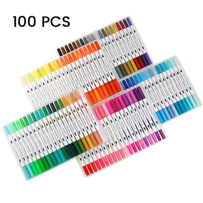 100 Color Set Marker Pen Graphic Art Sketch Twin Point Broad Point Copic Touch