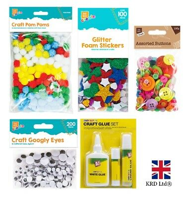 KIDS CRAFT BUMPER PACK Self Adhesive Foam Stickers Googly Eyes Glue Pom Poms UK