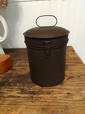 Metal Farmhouse Primitive Handled Canister w/Latch
