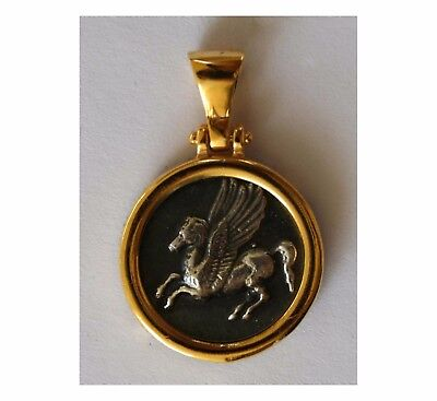 PEGASUS HISTORY GREEK COIN BIG PENDANT 925 GOLD PLATED sterling silver  1030