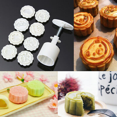 8 Stamps 35g Round Baking Mooncake DIY Cartoon Mold Pastry Biscuit Cake Mould