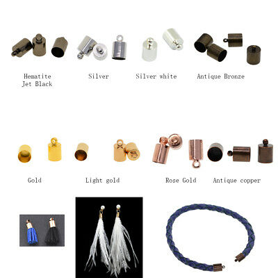 50Pcs Necklace Leather Cord End Caps Tassel Crimp End Connector DIY Jewelry