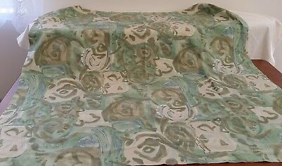 Vintage 1980s Shades GREEN ABSTRACT FLORAL 104cm Square Picnic TABLECLOTH