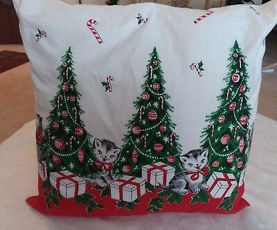 Hand Made CHRISTMAS CATS/KITTENS Pillow Plus Iridescent Candle Holder & Gifts