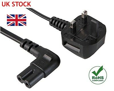 2M RIGHT ANGLE FIGURE OF 8 MAINS CABLE POWER UK LEAD PLUG CORD C7 Fig Laptop .