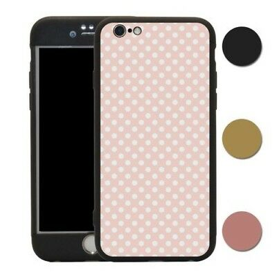 Retro Polka Dots Pale Pink 360° Case & Tempered Glass Cover For iPhone - T1061