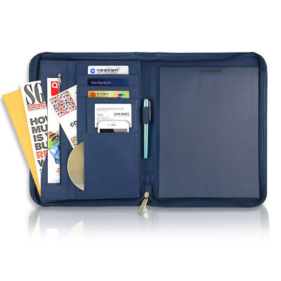 A4 Padfolio Portfolio Leather Zippered Writing Pad with Pockets and Card Holders