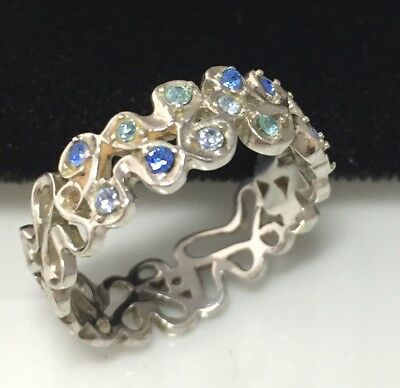 Beautiful Vintage Sterling Silver And Sapphire Blue Crystal Floral Design Ring
