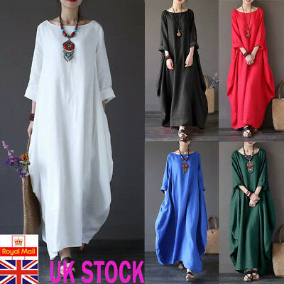 UK Womens Plain Baggy Maxi Dress Ladies Casual Cotton Linen Kaftan Long Dress