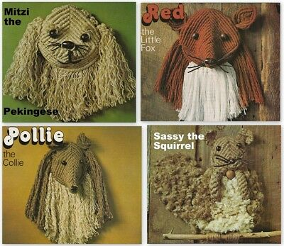 """Macrame Pattern Book""""creative Critters In Macrame""""8 Projects -Three-Dimensional"""