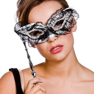 Adult Ladies Masquerade Prom Ball Venetian Fancy Dress Eye Mask Stick Accessory