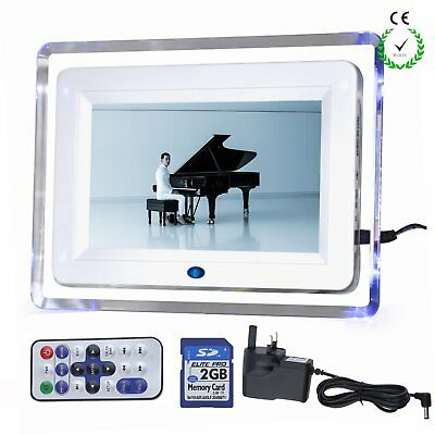 7'' HD Digital Photo Picture Video Frame White With 2GB SD Card Remote Control
